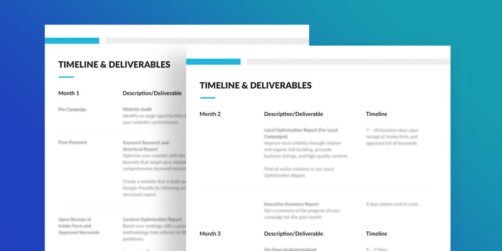 SEO Consulting the Timeline and Deliverables